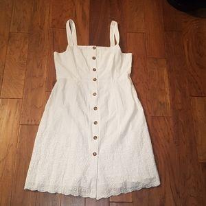 GAP White Button Down Dress Eyelet Embroidery